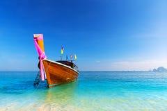 Long boat and tropical beach, Andaman Sea Stock Photo
