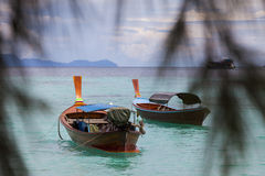 Long boat and tropical beach, Andaman Sea, Thailand Royalty Free Stock Image