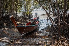 Long boat and tropical beach in island Railay Krabi. Thailand Stock Photos