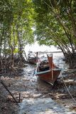 Long boat and tropical beach in island Railay Krabi. Thailand Royalty Free Stock Photos