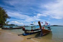 Long boat and tropical beach, Rawai beach , Andaman Sea, Thailan Royalty Free Stock Photography