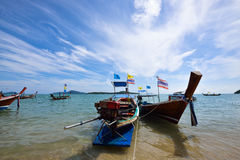 Long boat and tropical beach, Rawai beach , Andaman Sea, Thailan Royalty Free Stock Photos