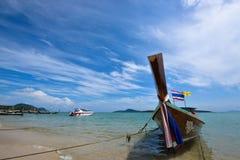 Long boat and tropical beach, Rawai beach , Andaman Sea, Thailan Royalty Free Stock Images
