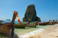 Long Boats. Anchored on island in Thailand Stock Image