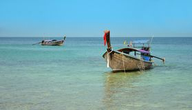 Long boats in andaman sea in summer vacation Royalty Free Stock Image