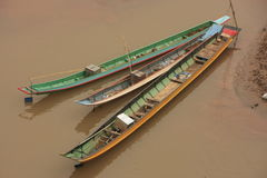 Long boats on a river, Nothern Laos Stock Photo