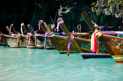 Long boats in thiland Royalty Free Stock Photography