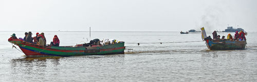 Long bottom boats, Tonle Sap, Cambodia Royalty Free Stock Images
