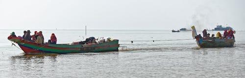 Long bottom boats, Tonle Sap, Cambodia Royalty Free Stock Images