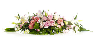 Long bouquet for holiday cheer. With rose, herbera and lily royalty free stock photos