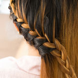 Long braid creative brown hair style Royalty Free Stock Photo