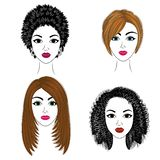 Long braids creative brown hair, isolated on white background. Hairstyles of a woman. Set of vector illustrations stock illustration
