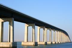 Long Bridge. Long modern bridge built over a river Stock Photos