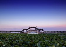 Long bridge in the aicent town of Jiangsu China, jinxi royalty free stock images