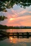 Long bridge by China West Lake at Sunset Stock Image
