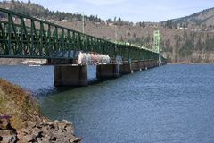 Long bridge of Hood River Oregon. Stock Photos