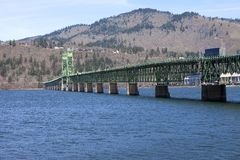 Long bridge of Hood River Oregon. Royalty Free Stock Photo