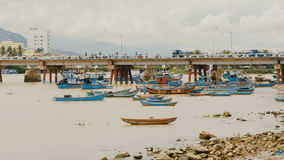 Long bridge in Nha Trang, central Vietnam. Bay with ships and boats. stock footage