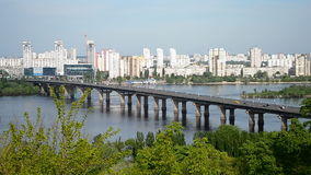 Long bridge over river in sunny day, Royalty Free Stock Photography