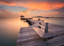 The long bridge over the sea with a beautiful sunrise, Rayong, T royalty free stock photo