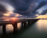 The long bridge over the sea with a beautiful sunrise, Rayong, T stock photos