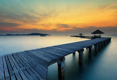 The long bridge over the sea with a beautiful sunrise, Rayong, T stock photo