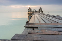 Long bridge over the sea Royalty Free Stock Images