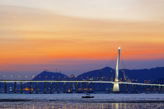 Long Bridge over sunrise Stock Photography