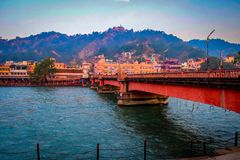 Free Long Bridge Over The Ganga River During Morning Time In Haridwar India Stock Photos - 164406273