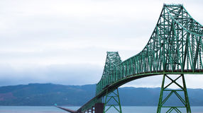Long Bridge over wide mouth of Columbia River in Astoria Royalty Free Stock Photo