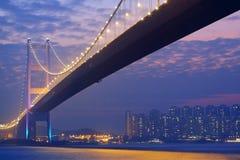 Long bridge in sunset hour Stock Image