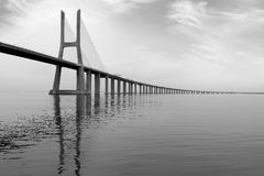 Long Bridge at sunset in Lisbon, Portugal. monochromatic picture Stock Image