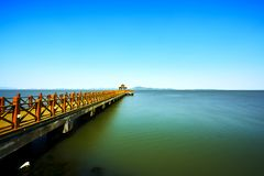 Long bridge in Taihu stock photography