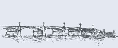 Long Bridge. Vector sketch Stock Photos
