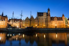 Long Bridge waterfront in Gdansk at dusk Royalty Free Stock Image