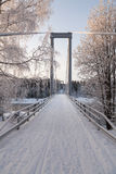 The long bridge. A bridge in a winter landscape with some sunlight on the birches stock photo