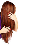 Long brown hair. Back of the head of young woman with long brown hair with blond highlights touching her hair on white background stock image