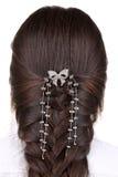 Long Brown Hair Braid. Back View. Stock Photo
