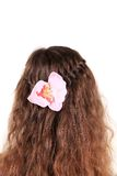 Long Brown Hair Braid with flower. Royalty Free Stock Images