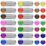 Long button. Web glossy buttons in different colors Royalty Free Stock Images