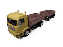 Long camion à benne basculante sur le fond blanc Photographie stock