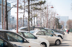 Long car row Stock Photo