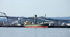 Long cargo ship in Longview Washington state. Stock Photography