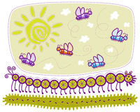 Long centipede and butterflies Royalty Free Stock Photo