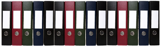 Long Chain of Office Lever Arch Files Stock Image