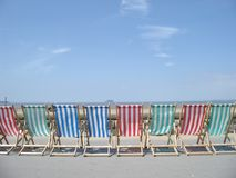Long chair. Beach front in Weston-super-Mare, Somerset,England Stock Photos