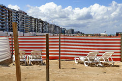 Long chairs on Belgian coast Royalty Free Stock Photos
