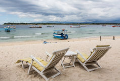 Long chairs in Gili Trawangan Stock Photography