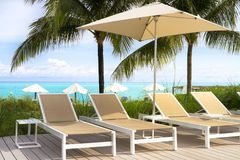 Long chairs near the piscine in a resort in Bahamas. Picture of series of relaxing chairs in the Club Med resort in the Bahamas royalty free stock images