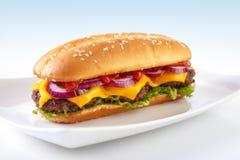 Long cheeseburger Stock Image